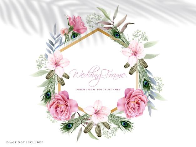 Cadre de mariage avec une belle main floral dessiné