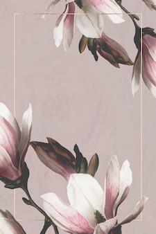 Cadre de mariage avec bordure de magnolia sur fond marron