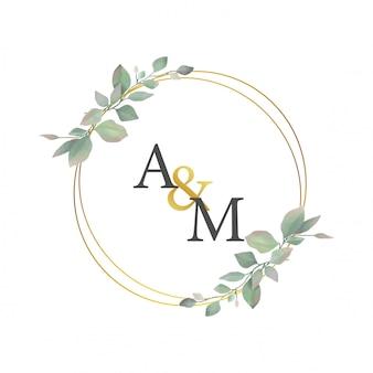Cadre de mariage avec des cercles d'or et des feuilles