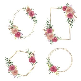 Cadre de mariage avec décoration de bouquet de fleurs aquarelle