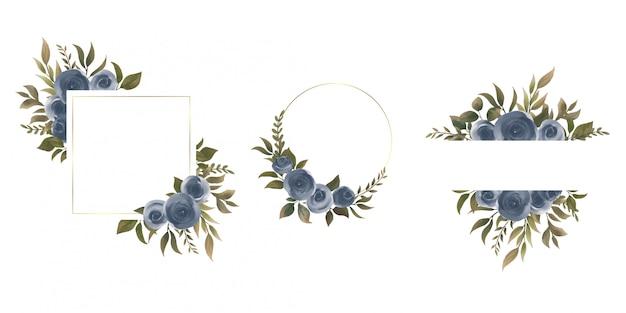 Cadre de mariage avec décoration florale aquarelle