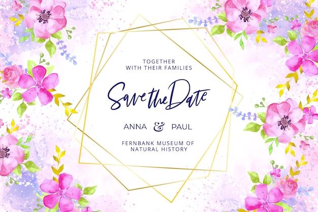 Cadre de mariage doré avec des fleurs à l'aquarelle