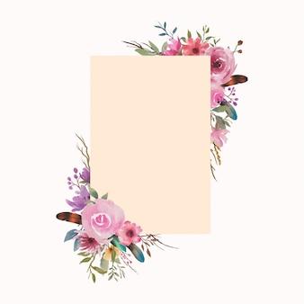 Cadre de mariage avec des fleurs aquarelles