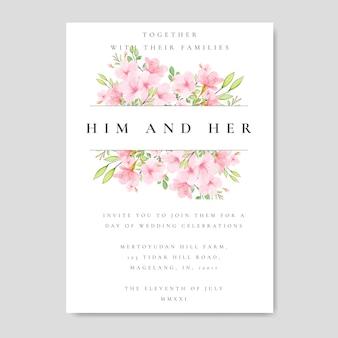 Cadre de mariage fleurs de cerisier floral