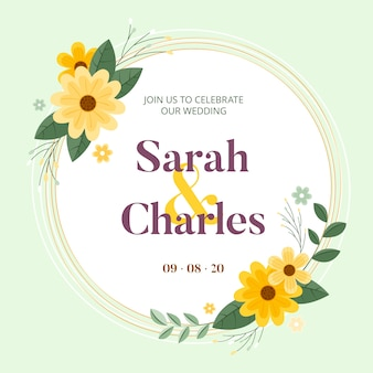 Cadre de mariage avec des fleurs