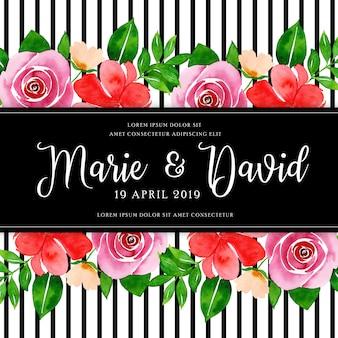 Cadre mariage floral aquarelle