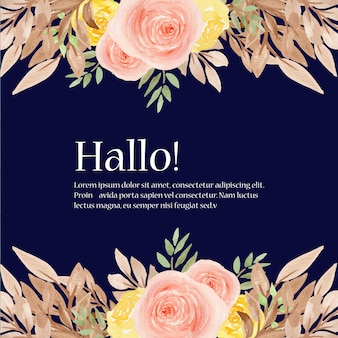 Cadre de mariage floral aquarelle