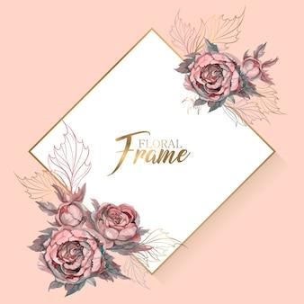 Cadre de mariage avec invitation de fleurs.