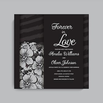 Cadre de mariage sombre élégant avec des fleurs.
