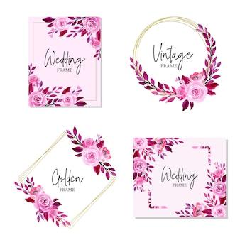 Cadre de mariage violet avec aquarelle collection florale