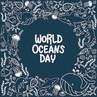 Cadre marin de la journée mondiale des océans