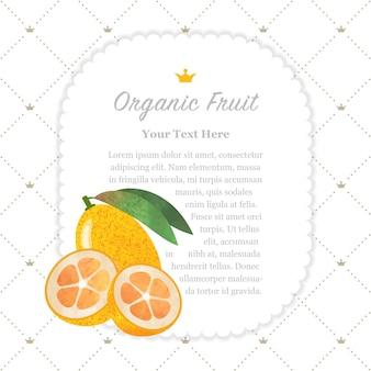 Cadre de mémo de fruits bio texture aquarelle colorée nature kumquat