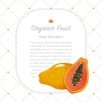 Cadre de mémo de fruits bio texture aquarelle colorée nature papaye