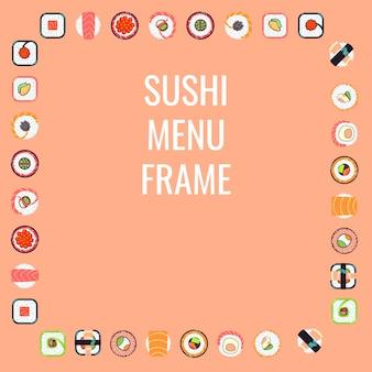 Cadre de menu sushi de cuisine japonaise