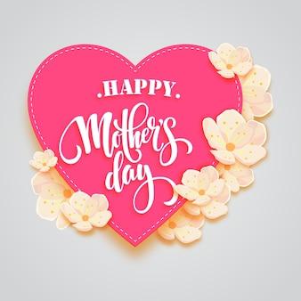 Cadre de mère heureuse en cadre d'amour rose
