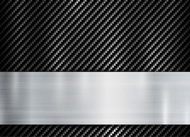 Cadre métallique abstrait sur la texture de kevlar de carbone