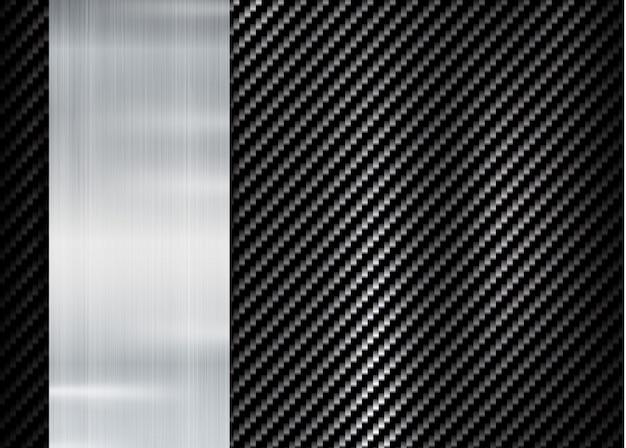 Cadre métallique abstrait sur la texture de kevlar en carbone