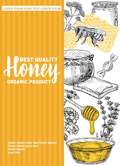 Cadre de miel dessiné à la main.