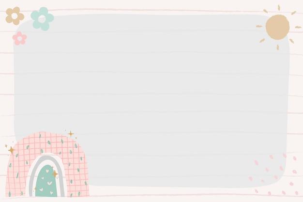 Cadre mignon, vecteur de frontière arc-en-ciel doodle