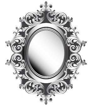 Cadre de miroir argenté baroque