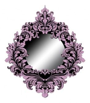 Cadre miroir violet baroque riche