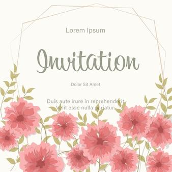 Cadre de modèle de carte invitation de mariage avec fleurs rouges