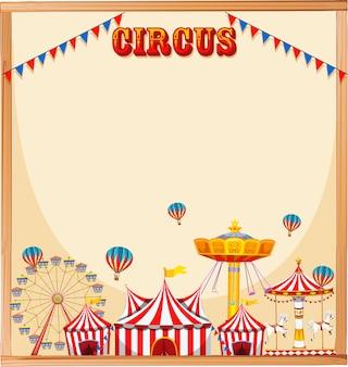 Cadre de modèle de cirque vierge avec texte, manèges et drapeaux