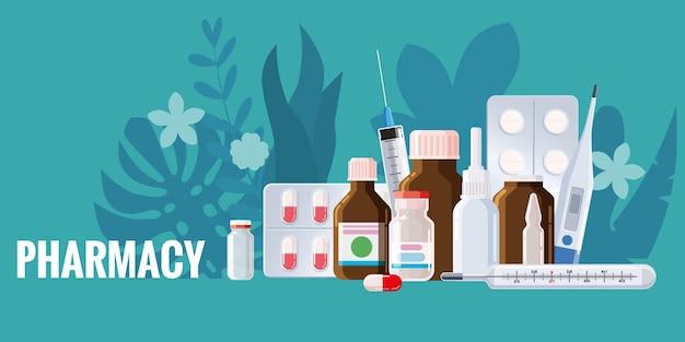 Cadre de modèle de pharmacie avec des pots de thermomètre de pulvérisation de boursouflure pilules médicaments bouteilles médicales