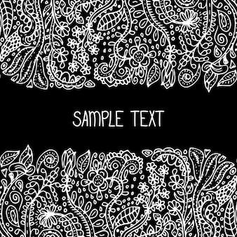 Cadre de modèle sans couture de vecteur floral abstrait ethnique. peut être utilisé pour la bannière, la carte, l'affiche, l'invitation, l'étiquette, le menu, la décoration de page ou la conception de sites web