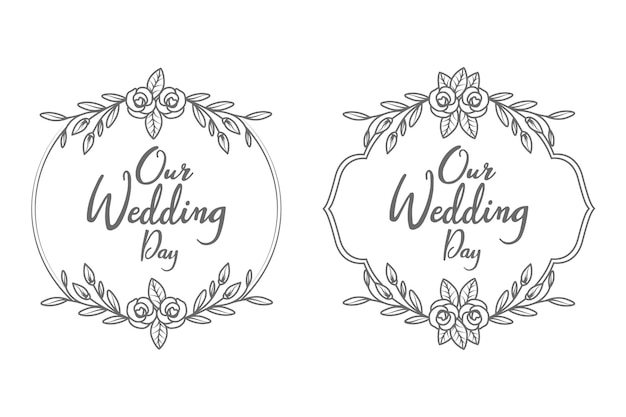 Cadre et monogramme de badges de mariage décoratif et minimal dessinés à la main