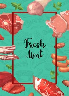 Cadre de morceaux de viande de dessin animé avec voler autour d'elle avec la place pour le texte dans l'illustration du centre