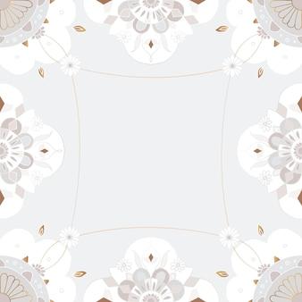 Cadre motif mandala doré style indien floral gris