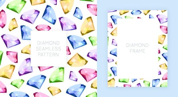 Cadre et motif sans couture de diamant