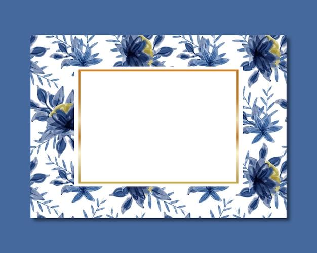 Cadre avec motif transparent aquarelle floral bleu