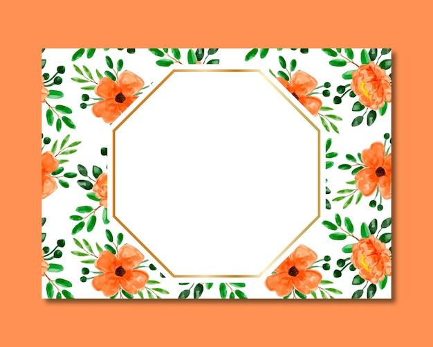Cadre avec motif transparent aquarelle floral orange