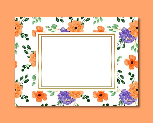 Cadre avec motif transparent aquarelle floral violet orange