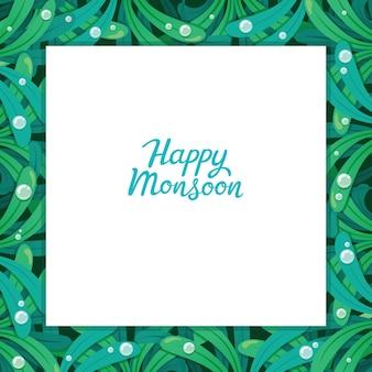 Cadre de mousson heureux avec motif de feuilles