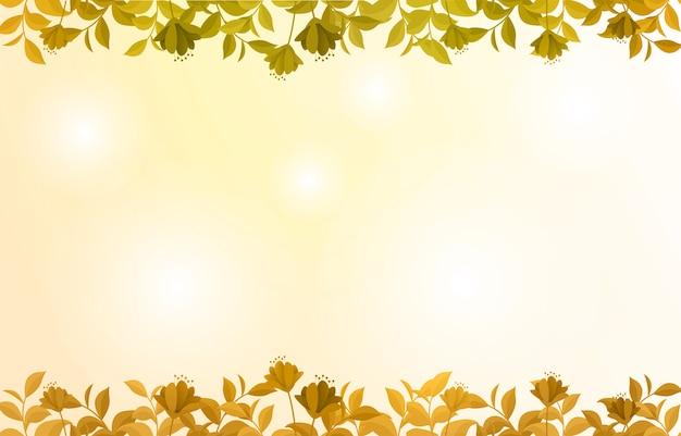 Cadre de nature fleur fleur été printemps sur jaune d'or