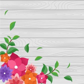 Cadre de nature fleur fleur d'été printemps sur planche de bois