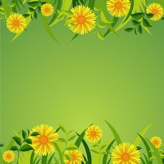 Cadre de nature fleur fleur été printemps sur vert frais