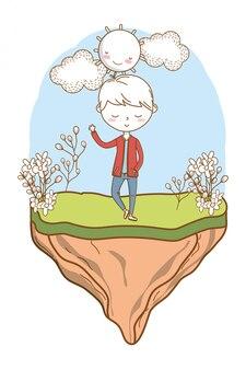 Cadre nature tenue garçon dessin animé