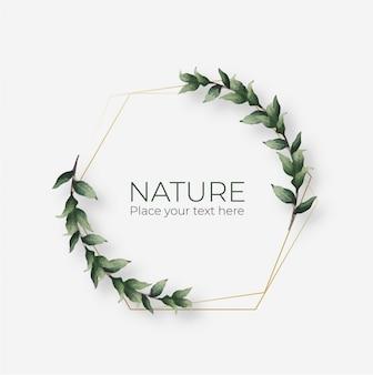 Cadre naturel avec cadre géométrique doré