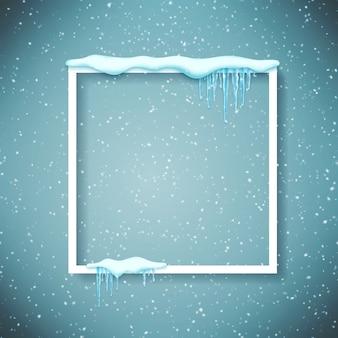 Cadre avec neige et glaçons réalistes.
