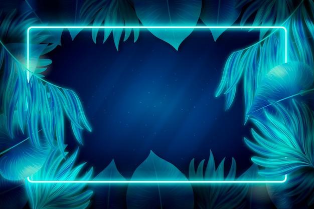 Cadre néon bleu avec des feuilles