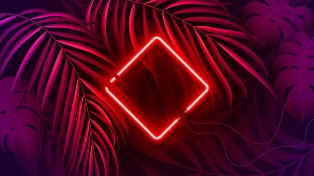Cadre néon de couleur fluorescente, tropical