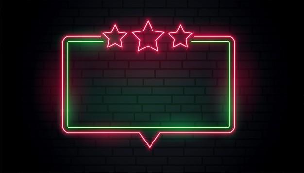 Cadre néon avec étoiles rouges
