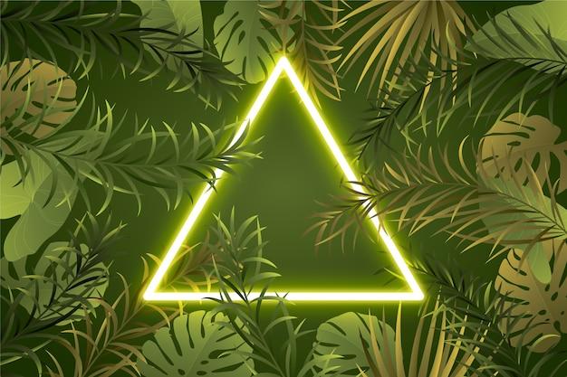 Cadre néon feuilles réalistes