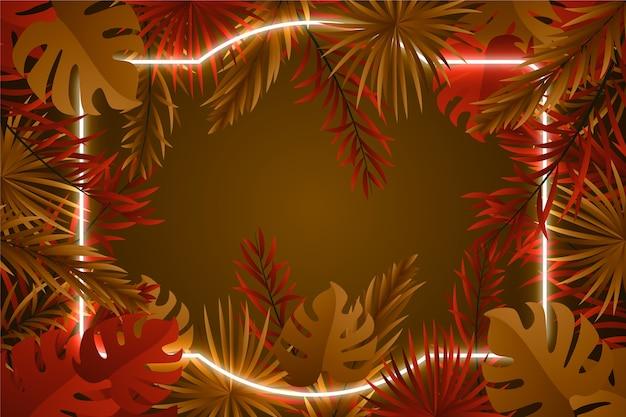 Cadre néon avec fond de feuilles