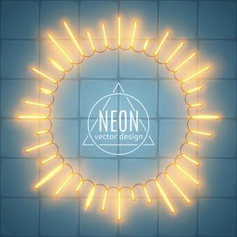 Cadre néon, forme sunburst, rayons de lumière étincelants