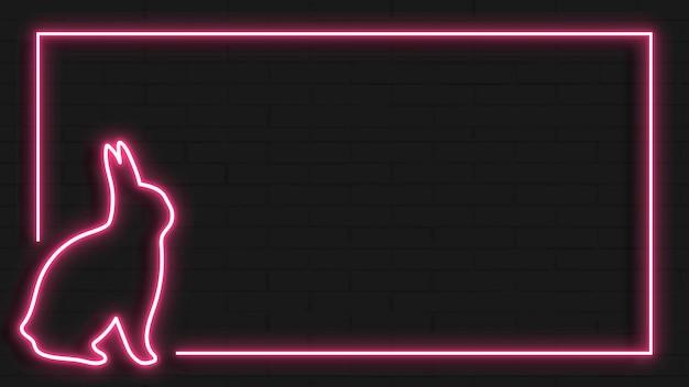 Cadre néon de lapin de pâques rose sur vecteur de fond noir